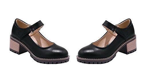 AalarDom Femme à Talon Correct PU Cuir Couleur Unie Velcro Chaussures Légeres Noir VarZlv