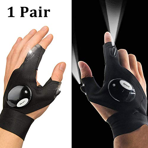ENTHUR LED Flashlights Gloves, Outdoor Fishing Gloves Work Gloves with Lights for Handyman, Repair, Mechanics, Electrical Work, Fishing, Camping, Hiking, Running and Low Light Work 1 Pair (Black)