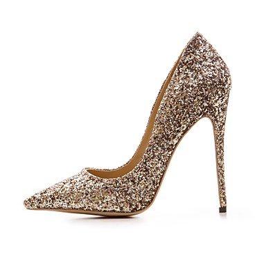 DESY Damen High Heels Pumps Echtes Leder Herbst Winter Normal Gold Rot 10 - 12 cm