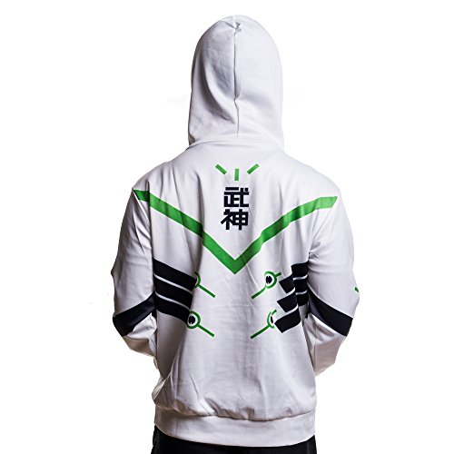 Rulercosplay Fashion Hoodie Genji White Hoodie Cosplay Costume (L, White)