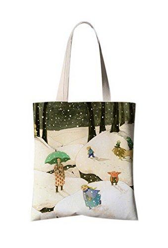 Japanischer Art-Blumen-Illustrator Leinentaschen Reise-Einkaufstasche Mann im Schnee