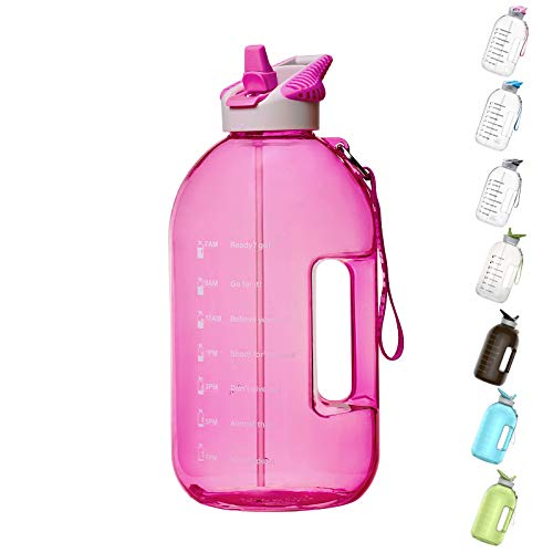 BOTTLED JOY 1 Gallon Water Bottle with Straw Lid, BPA Free Large Water Bottle with Motivational Time Marker Reminder Leak-Proof Drinking Big Water Jug for Sports Workouts and Outdoor Activity