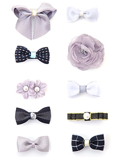 Pull Some Bow (Belle Beau Baby Girls Hair Bows, Hair Clips, Ribbon Lined Alligator Hair Clips (Z-Dix-B))