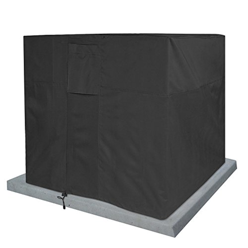 KHOMO GEAR - Titan Series - Waterproof Heavy Duty Outdoor Air Conditioning Cover AC Protector - Black (Conditioning Covers Outdoor Air)