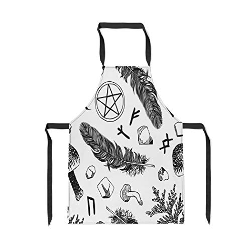 Pinbeam Apron Witchcraft Pattern Ritual Things Wicca Attributes for Young with Adjustable Neck for Cooking Baking Garden