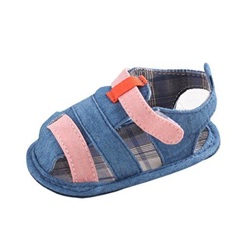 Recién nacido niños verano goma Soled soporte de al aire libre sandalias Canvas Deep Blue