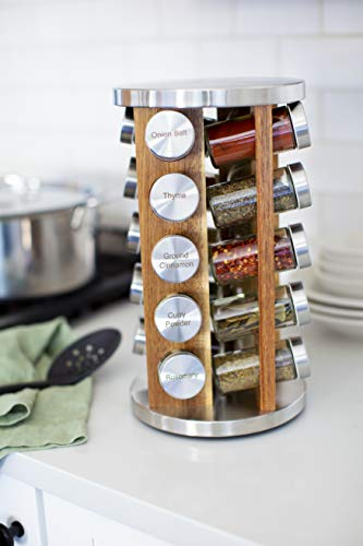 Kitchen Orii 20 Jar Spice Organizer Rack in Natural Acacia Wood Filled with Spices – Rotating Standing Rack & Countertop Spice… spice racks