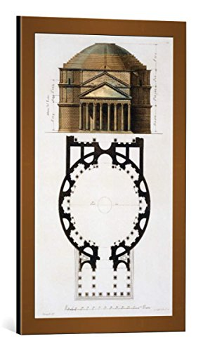 kunst für alle Framed Art Print: Paolo Fumagalli Ground Plan Facade Pantheon Rome from Le Costume Ancien... - Decorative Fine Art Poster, Picture with Frame, 15.7x25.6 inch / 40x65 cm, ()
