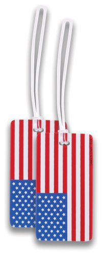Lewis N. Clark 2-Pack American Flag Luggage Tag, American Flag, One Size ()