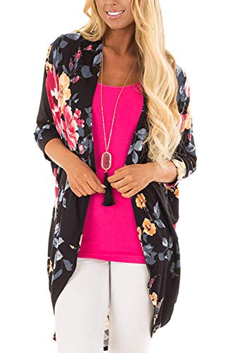 Floral Kimono Top (Women's Floral Print Puff Sleeve Kimono Cardigan Loose Cover Up Casual Blouse Tops(Black2 2XL))