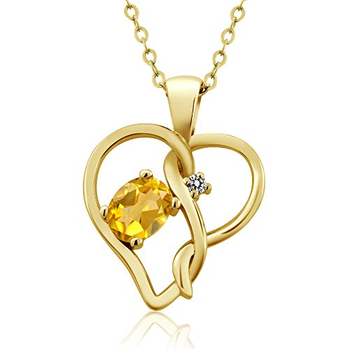 Gem Stone King 0.41 Ct Oval Yellow Citrine White Diamond 18K Yellow Gold Plated Silver Pendant ()
