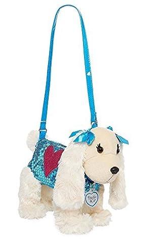 Poochie & Co Girl's Plush Puppy Purse, Blue Sequins Pink Heart Lizzie Beagle - Blue Puppy Plush
