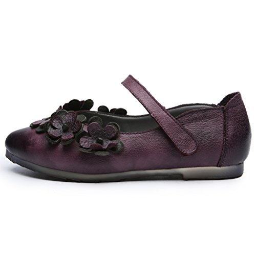 on flache Mallimoda Schuhe Frühjahr neue Leder Damen Purple Slip Knöchelriemen aa8w4