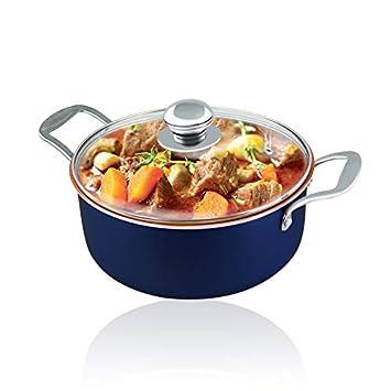Cacerola de wok antiadherente de 4.7 qt con tapa base de inducción antiadherente de cerámica con