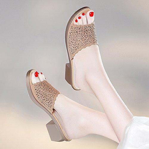 ZPPZZP Ms sandali pantofole a tacco alto Bold e il coreano-stile wild 36EU oro