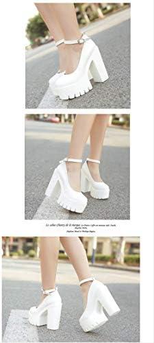 ACWTCHY Nieuwe Casual schoenen met hoge hakken Dikke hakken Platform Pumps Zwart Wit 7 witte schoenen