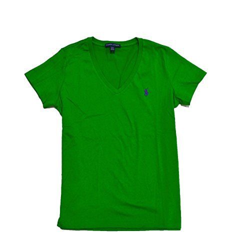 Polo Ralph Lauren Womens V-neck Jersey T-shirt (L, Vivid Green) (Lauren Ralph Ribbed Jersey)