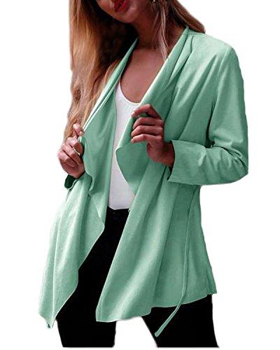 Auxo Seda Cardigan Ocasional Cinturó Camiseta Térmica para Mujer Manga Larga Primavera Verde