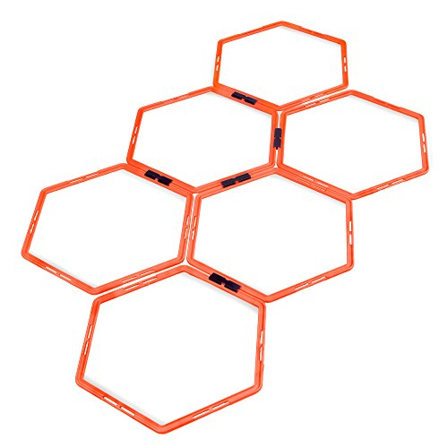 Crown Sporting Goods Hexagonal Ladder Set, Fluorescent Orange – Plyometric Hex Speed Rings for Agility Footwork Training & Vertical Jump Workouts, Features 6-Rungs of Hexes by Crown Sporting Goods