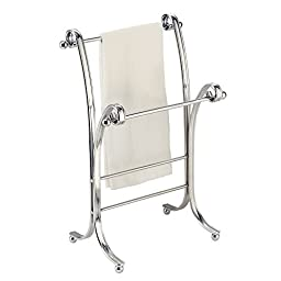 InterDesign York Lyra Fingertip Bath Hand Towel Holder Stand , Chrome