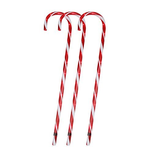 Sienna International Lit Candy Cane Pathway Markers, 28-Inches, Set of 3