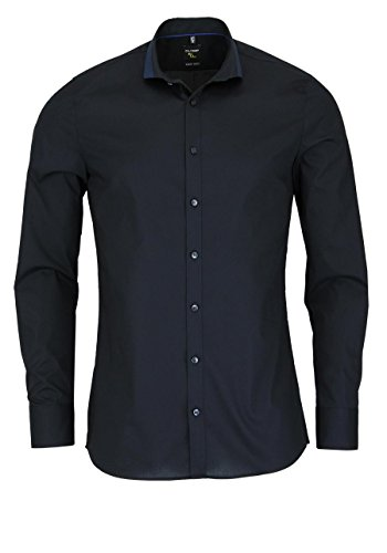 OLYMP No. Six super slim Hemd Langarm mit Besatz schwarz