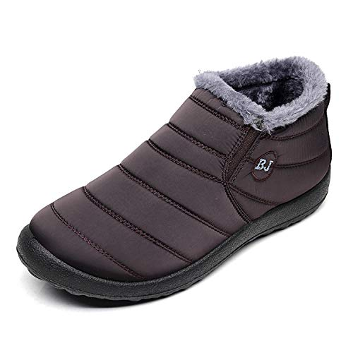 Waterproof Snow Sneakers Boots Fur Lined Ankle High-Top Outdoor Slip-on Booties Anti-Slip Winter Shoes for Womens Men Coffee M42 ()