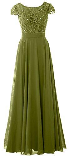 donna maniche elegante da da lungo con aletta Green pizzo con ad Olive abito sera Macloth qBv88I