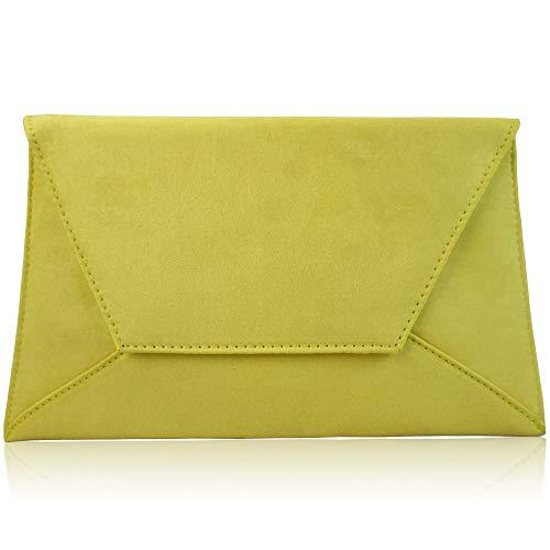 Prom London Xardi Ladies Bags Envelope Suede Large Bridesmaid Women Yellow Clutch Party Flat Evening fxw8SxqT1