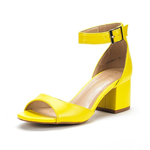 DREAM PAIRS Women's Chunkle Yellow Pu Low Heel Pump Sandals Ankle Strap Dress Shoes - 6.5 M US -