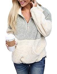 Womens Long Sleeve Zip Sweatshirt Fleece Pullover Outwear...