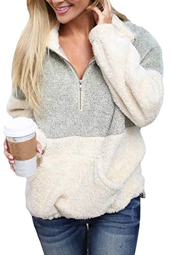 (Chase Secret Womens Autumn Winter Casual Zipper Collar Sherpa Fleece Pullover Long Sleeves Tops with Pockets S Grey)