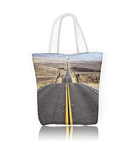Reusable Cotton Canvas Zipper bag The road goes the distance Tote Laptop Beach Handbags W22xH15.7xD7 INCH
