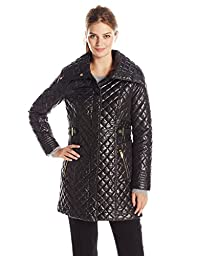 Via Spiga Women\'s Lightweight Quilted Jacket with Side Tabs, Black, Large