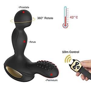 Vibrating Prostate Massager Heating Wireless Remote Anal Sex Toys Rotating Mens Anal Stimulation Silicone 10 Speed Vibration With 2 Powerful Motors for Male Orgasms & Couples