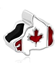 Luluadorn Canadian Maple Leaf Flag of Canada Map Charms for Bracelets