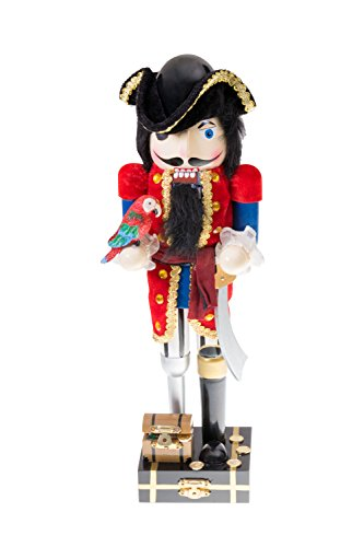 Clever Creations Pirate Captain Nutcracker Tri Fold Hat, Parrot and Sword | Perfect Collection to Any Collection | Festive Christmas Decor | Perfect for Shelves and Tables | 100% Wood | 14