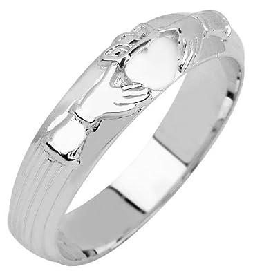 Amazon.com: De los hombres Bold 10 K oro anillo Claddagh ...
