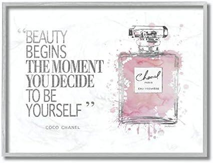 Stupell Industries Beauty Begins Fashion Perfume Grey Framed Wall Art