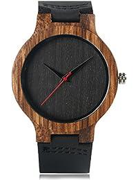 Creative Wood Watch Mens Analog Minimalist Genuine Leather Band Strap Bamboo Nature Wood Wrist Watch