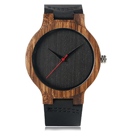 Creative Wood Watch Mens Analog Minimalist Genuine Leather Band Strap Bamboo Nature Wood Wrist Watch (Black Dial)