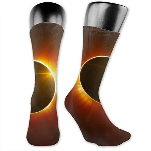 Unisex Performance Cushion Crew Socks Tube Socks Solar Eclipse New Middle High Socks Sport Gym Socks ()
