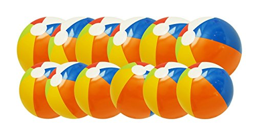 Inflatable Rainbow Beach Balls - 12 Pack - 6 Large and 6 Medium Inflatable Pool Toy Beach Balls