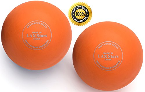 Lacrosse Balls By LAX Stars Myofascial Tension Release, Fascia Release, Massage Balls for Foot, Massage Balls for Back, Trigger Point Therapy Balls, Muscle Knots, Yoga, Pack of 2 Balls (Orange Orange)