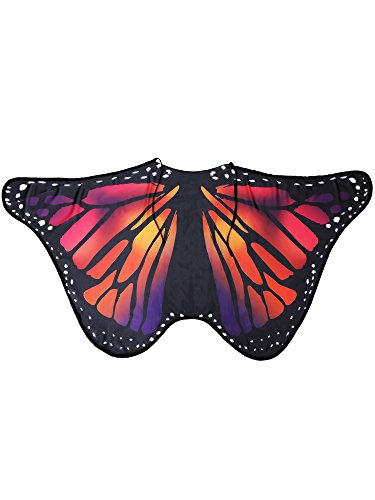 Blulu Butterfly Wings Shawl Poncho Nymph Cape Fairy Ladies Tippet for Halloween Party Wings Dancing Accessories (Colorful, 146 x 65 cm)