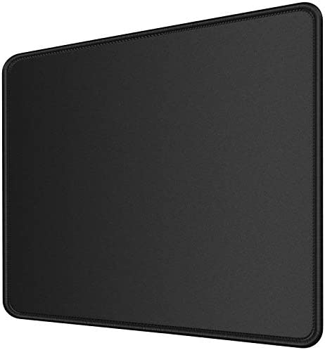 MROCO Mouse Pad [30% Larger] with Non-Slip Rubber Base, Premium-Textured & Waterproof Computer Mousepad with Stitched Edges, Mouse Pads for Computers, Laptop, Gaming, Office & Home, 8.5 x 11 in, Black