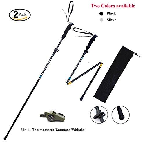 2 Pack(1 pair) - Fnado&Sports Collapsible Telescopic Adjustable Anti Shock Hiking / Walking / Trekking Trail Poles
