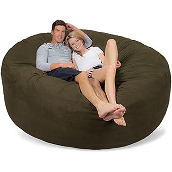 Comfy Sacks 7 Ft Memory Foam Bean Bag Chair Olive Micro Suede