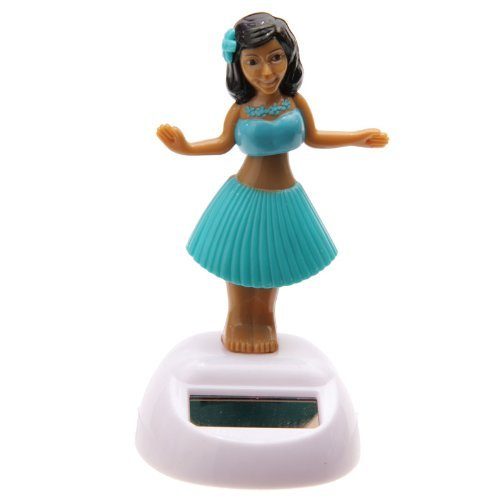 Solar Powered Dancing Hula Girl with Blue -