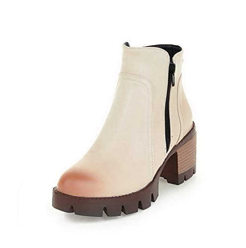 Heels Kitten Women's Closed WeiPoot Round Low Boots Zipper Toe Beige Top Solid Wzw8qrdYw